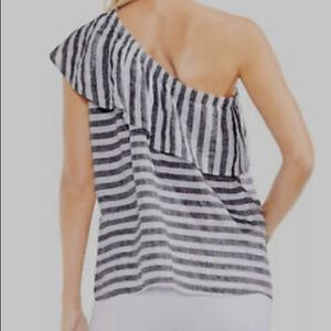 Vince Camuto Striped One Shoulder Flounce Top